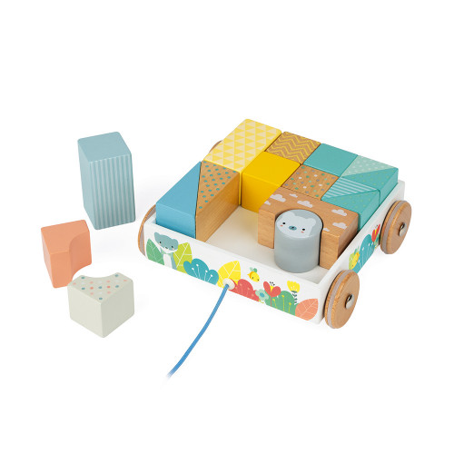 Janod Pure Pull-Along Wooden Blocks Cart